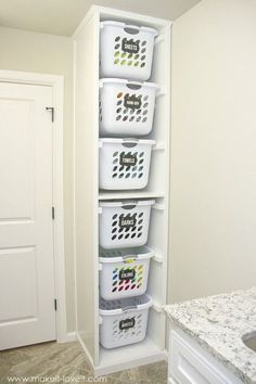 Perfect Design Laundry Shelves And Storage Laundry Sorter Genius Laundry Storage Ideas You Can DIY, laundry closet storage, laundry room shelves and storage, laundry shelf storage, laundry shelf storage rack. Added on September 2018 at Shelves Design Laundry Basket Organization, Laundry Room Organization, Laundry Room Design, Diy Organization, Laundry Sorter, Laundry Baskets, Small Laundry, Diy Organizer, Laundry Organizer Diy