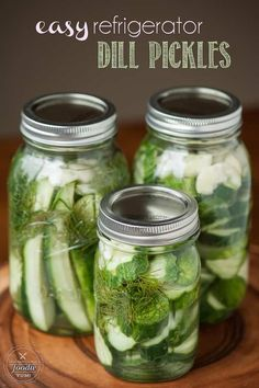 Easy Refrigerator Dill Pickles take only a few minutes to make. Once you make your own homemade dill pickles, you'll never buy store bought again. #pickles #refrigerator #homemade #dill #picklerecipe #quickpickles #easypickles #cucumber