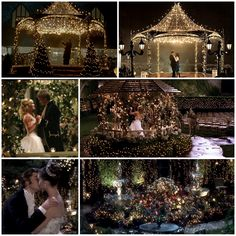 Wedding Rings Movies (Cinderella Story and Princess Diaries) mixed with reality. Lighted Gazebo and garden. A Cinderella Story, Cinderella Wedding, Princess Wedding, Hot Tub Gazebo, Garden Gazebo, Ceremony Decorations, Pretty Flowers, Wedding Planning, Event Planning