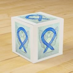 River Blue Colon Cancer   Awareness Ribbon Angel Party Favor Box
