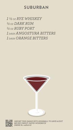 Cocktail Catalog — Suburban Hard Drinks, Wine Drinks, Yummy Drinks, Alcoholic Drinks, Beverages, Cocktails To Try, Bourbon Cocktails, Classic Cocktails, Cocktail Shots