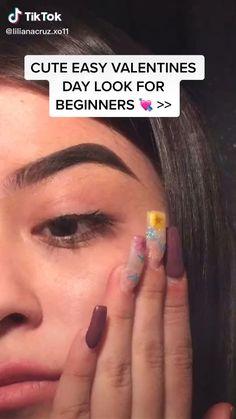 makeup videos valentine's day look for beginners 💕 Edgy Makeup, Makeup Eye Looks, Eyeshadow Looks, Eyebrow Makeup, Skin Makeup, Makeup Art, Dark Makeup, Maquillage On Fleek, Baddie Make-up