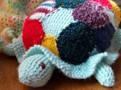 Knitted Toy  Patchwork Turtle Toy by flameOfsilver on Etsy, $50.00