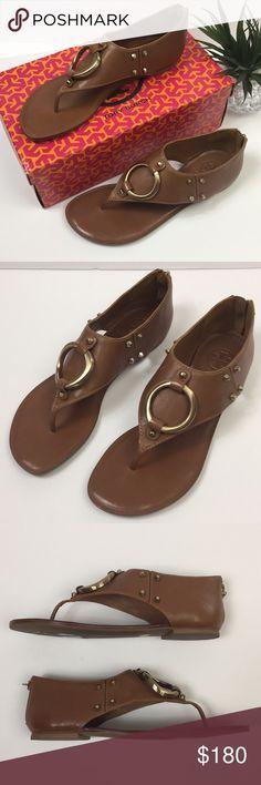 6ec50009443 TORY BURCH Fox Flat Thong Sandals Style  51118623 Retail  275 Beautiful  antique vegan leather. Back zip closure. Gold details. Tory Burch Shoes  Sandals