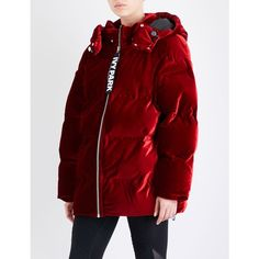 Ivy Park Oversized velvet puffer jacket ($265) ❤ liked on Polyvore featuring outerwear, jackets, red jacket, oversized jackets, padded puffer jacket, red padded jacket and velvet padded jacket