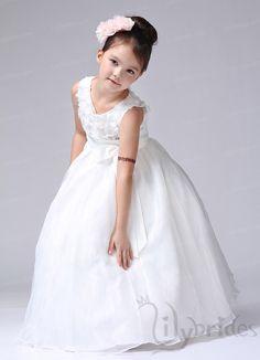 Princess Scoop Chiffon Organza Ankle Length Sash Flower Girl Dress
