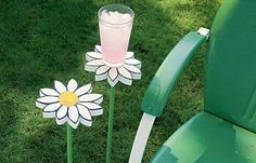 create a few long-stemmed drink holders so you can relax with your beverage in style. With a stake solidly tapped in at the right height, you can use the holder to stash your glass, book, suntan lotion or snack bowl all within arm's reach and out of harm's way.