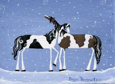Original Painting  Folk Art Horse Painting  2 by artbyregant, $31.50. These are so small. So sweet. Just perfect.