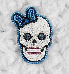 Blue Sugar Skull Bead Embroidered Hair by SmirkingSphinx on Etsy