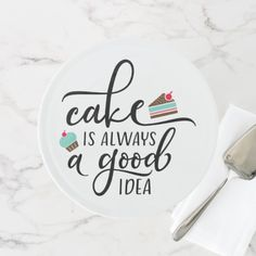 Shop Cake Is Always A Good Idea Cake Stand created by honeybellcooks. Cake Captions, Food Captions, Dessert Quotes, Cupcake Quotes, Bakery Quotes, Food Quotes, Cake Story, Chocolate Humor, Bakery Sign
