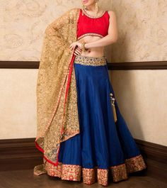 #Blue Thread And Zari Embroidered #Lehenga, Choli And Dupatta by #Sanskriti at #Indianroots