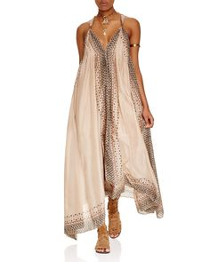 Free People Merida Printed Maxi Dress | Viscose/cotton; lining: polyester | Hand wash | Made in India | Fits large | Deep v-neck, gathered shoulder straps, sleeveless | Asymmetric hem, back keyhole, l