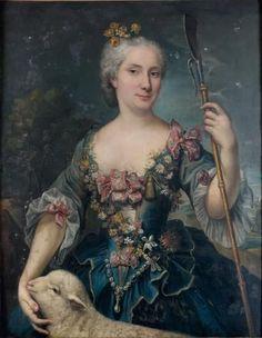 Attribué à Marianne LOIR (1715 - 1769), Portrait de femme en Sainte Agnes