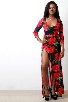 Semi-Sheer Roses Deep V High Slit Maxi Dress