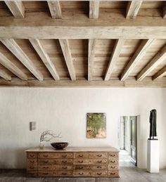 Beamed ceilings. Inside ceiling of lower and upper levels. Blue pine wood and beams.
