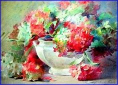 Blanche Odin Watercolor Flowers, Watercolor Paintings, Watercolors, Floral Paintings, Flowers For You, Art Graphique, Belle Photo, Rose, Drawings