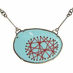 lisa crowder. criss cross stitch necklace