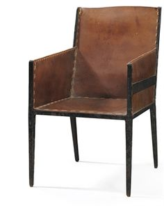 JEAN-MICHEL FRANK / Leather and Wrought-Iron Armchair / 1925