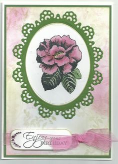 Pink camellia with sponged background by Doreen Worth