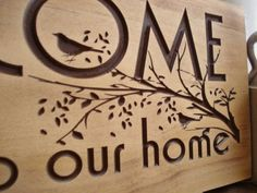 18 x 7 Carved Wooden Welcome Sign Nature by BenchmarkSignsGifts, $39.99