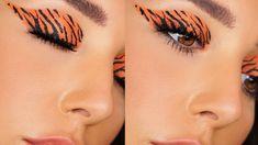 Tiger Makeup, Pop Art Makeup, Animal Makeup, Makeup Ideas, Halloween Eyeshadow, Halloween Makeup Looks, Makeup Tutorials Youtube, Makeup Challenges, Makeup Eye Looks