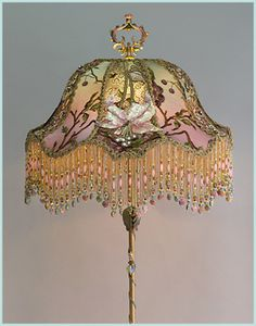 Christine Kilger's Nightshades are one-of-a-kind victorian lampshades with hand-beaded shades on period lighting fixtures and are designed and created with rare antique fabrics, appliqués and embellishments circa Antique Hurricane Lamps, Antique Lamps, Antique Lighting, Chandelier Lamp Shades, Funky Lamp Shades, Victorian Lamps, Chandeliers, I Love Lamp, Handmade Lamps