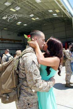 Marine kissing his princess