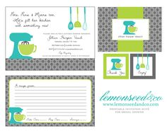 Printable Kitchen Shower Invitations Bridal by lemonseedandco