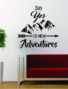 Wall Vinyl Art adventure awaits version 2 mountains arrow design decal sticker