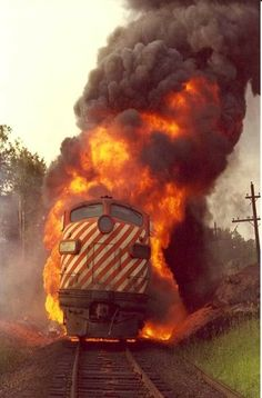 """""""To see or dream that you are in a train wreck suggests chaos. Diesel Locomotive, Steam Locomotive, Fire Training, Dog Training, Choo Choo Train, Photo Portrait, Train Pictures, Old Trains, Train Engines"""