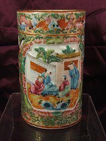 Chinese famille rose porcelain brush pot C19th
