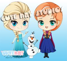 Chibi Elsa, olaf and Anna by crowndolls on deviantART