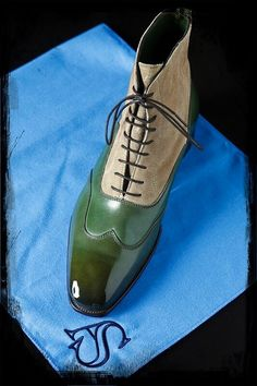 Men's shoes green lace.  Repinned by www.silver-and-grey.com