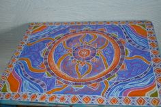 Painted Side Table - Mandala Design Small Table - Painted furniture