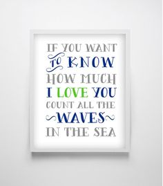 Nautical Nursery decor, If you want to know how much we love you art print, Green and Navy blue wall decor, 16x20 art print,8x10 PRINTABLE