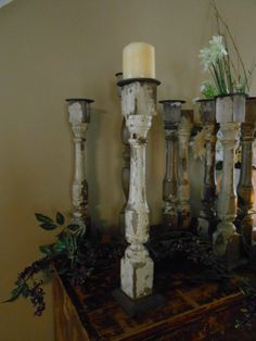 Vintage Porch Spindle Pillar Candle Holder - I just bought some spindles and plan on making some of these. Spindle Crafts, Wood Crafts, Fun Crafts, Diy And Crafts, Pillar Candle Holders, Pillar Candles, Stair Spindles, Candlesticks, Candleholders