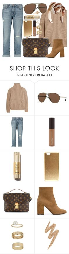 """Versace Eyes"" by smartbuyglasses ❤ liked on Polyvore featuring Totême, Versace, Current/Elliott, Becca, Balmain, Louis Vuitton, L'Autre Chose, Miss Selfridge, Urban Decay and HUGO"