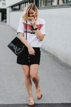 tifmys – Sandro shirt, Larsson&Jennings Läder watch, Chloé Faye bag, Pimkie Suede skirt & Birkenstock Arizona sandals.
