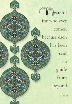 Be grateful for who ever comes, because each has been sent as a guide from beyond.   ~Rumi~