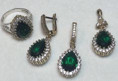 Hurrem!! Ottoman Turkish Handmade Sterling Silver Emerald & Topaz Set !!Size 8.5  | eBay
