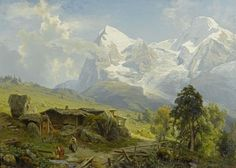 August Wilhelm Leu View from Wengerenalp to Eiger and Mönch - The Largest Art reproductions Center In Our website. Low Wholesale Prices Great Pricing Quality Hand paintings for saleAugust Wilhelm Leu Great Paintings, Beautiful Paintings, Beautiful Landscapes, Hudson River School, Classic Artwork, Beautiful Nature Pictures, Winter Painting, Landscape Artwork, Puzzle Art
