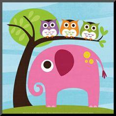 Elephant with Three Owls Affiches par Nancy Lee sur AllPosters.fr