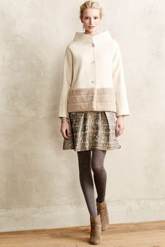 Cream & Beige Wide Collar Winter Coat, Gold & Black Metallic Skirt, Grey Textured Stockings, Taupe Ankle Boots // sophisticated