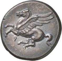 Statere - argento - Corinto, Acaia, Grecia (IV sec.a.C.) - Pegaso in volo vs.sn. - Münzkabinett, Berlin