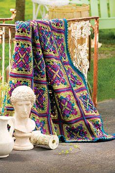 Free Joyous Squares crochet afghan pattern courtesy of the Talking Crochet newsletter.