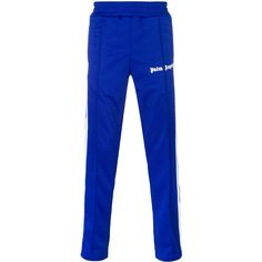 Palm Angels fitted track trousers ($450) ❤ liked on Polyvore featuring men's fashion, men's clothing, men's activewear, men's activewear pants, blue and track pants