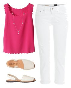 White jeans outfit for summer - pair white denim with a bright top for a crisp summer outfit idea.