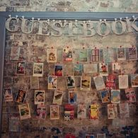 Vintage postcards as a guest book