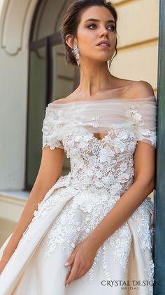 crystal design 2017 bridal off the shoulder wrap sweetheart neckline heavily embellished bodice princess romantic ball gown a  line wedding dress royal train (emilia) zv