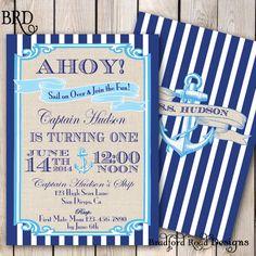 Sailing Nautical Birthday Invitation Double-sided Ahoy Sail on Over Anchor Boy Shower Printable 5x7 Sailor Baby Shower Navy Anchor Burlap on Etsy, $20.00